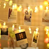 Ustellar 18ft 40 LED Photos Clips String Lights, Waterproof Battery Operated Fairy Twinkle Lights for DIY Wedding Party Chris