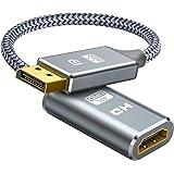Displayport HDMI 変換アダプタ (オス-メス) 30cm dp hdmi 変換ケーブル 4K対応 ディスプレイポート HDMI 変換ケーブル 音声映像同期出力 ナイロン編み