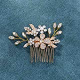 Unicra Bride Wedding Flower Hair Comb Rhinestone Bridal Side Comb Leaves Hair Accessories for Women and Girls (Gold)