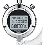 Silent Metal Digital Stopwatch for Sports with Countdown Timer, 100 Laps Memory, Large Display, Alarm Clock, Interval Timer f