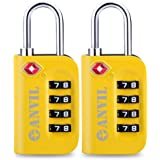 TSA Luggage Locks (2 Pack) - 4 Digit Combination Steel Padlocks - Approved Travel Lock for Suitcases & Baggage (Yellow 2 Pack