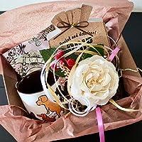 フラワー ギフト cafe,q カフェック、ストロベリーピンク チョコレート & コーヒー & サヴィニャック マグカップ(清潔な街・犬)セットギフト (コーヒー) 母の日 花 スイーツ 花とグルメのセット
