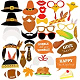 Thanksgiving Photo Booth Props TINKSKY Happy Thanksgiving Day Photo Prop Kit Decorations DIY Attached to Stick 34pcs