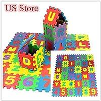 Rong Halloween 36ピース 赤ちゃん 子供 数字アルファベットパズル 発泡体 数学教育玩具 ギフト A ブラック aaa