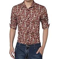 Allegra K Men Long Sleeve Button Closure Front Paisleys Casual Shirt