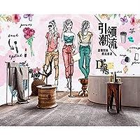 Lixiaoer ファッション水彩画手描きの衣料品店の背景の壁の美しいモデルショップの壁紙カスタム3D壁画-400X280Cm
