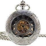 [モノジー] MONOZY 機械式 手巻き 懐中時計 白銀 両面蓋 両面 スケルトン ハーフハンター【収納袋、化粧箱】アンティーク 懐中時計