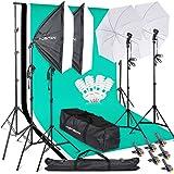 FOSITAN プロな写真撮影ソフトボックス照明キット 2M x3M背景布支援システム 豪華33件セット 5500K 2*50*70㎝ソフトボックス 2*白いソフト傘 6*2M三脚 3*背景布(白、黒、緑) スタジオ撮影、ポートレート撮影、インタビュ