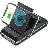 YANSAKER 折畳収納可能ホルダー ワイヤレス充電バッテリー 20000mAh超大容量 Qiワイヤレス出力 LEDディスプレイ 双方向2.1A急速充電 Type-C Micro USBダブル入力 ダブルUSB出力 ビジネス 旅行 iPhone H