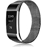 Erencook Replacement Bands Compatible with Fitbit Charge 2, Stainless Steel Metal Lock Replacement Wristband for Women Men La