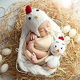 赤ちゃん写真小道具、かわいい新生児赤ちゃん女の子男の子ニット帽子+チキン写真プロップ写真 For baby about 0-3 months old ホワイト