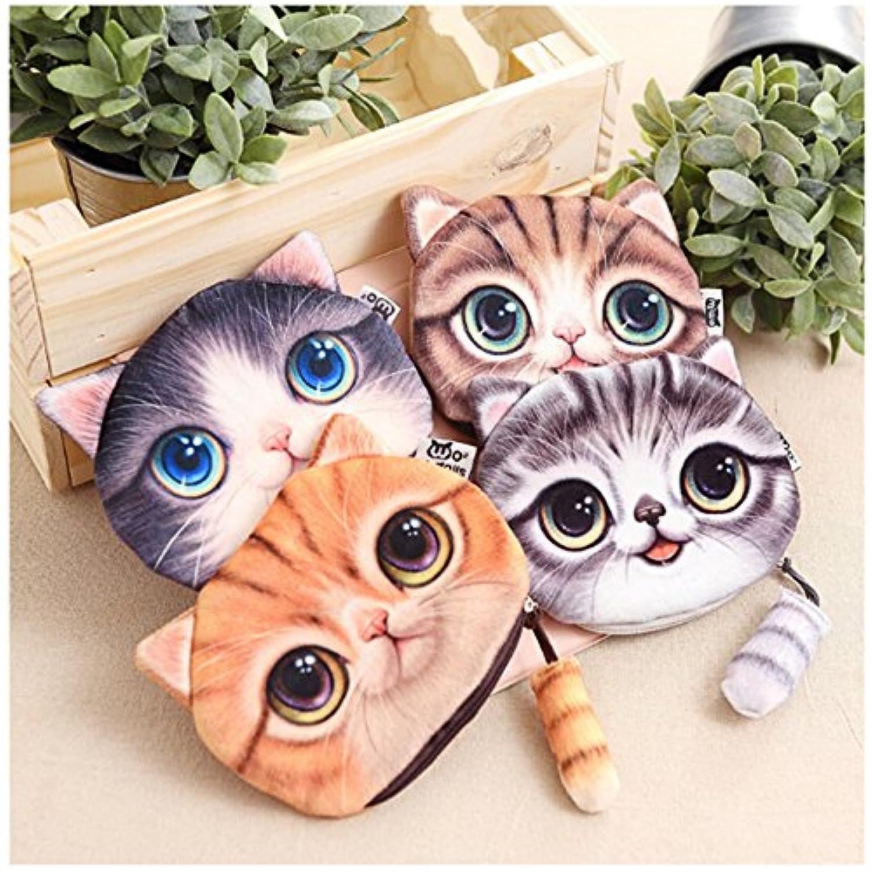 DBMART 可愛い猫 財布 ウォレット 小銭入れバッグ お小遣い入れ 収納バッグ コインケース 円型 ファスナー レディース 小さな 猫柄