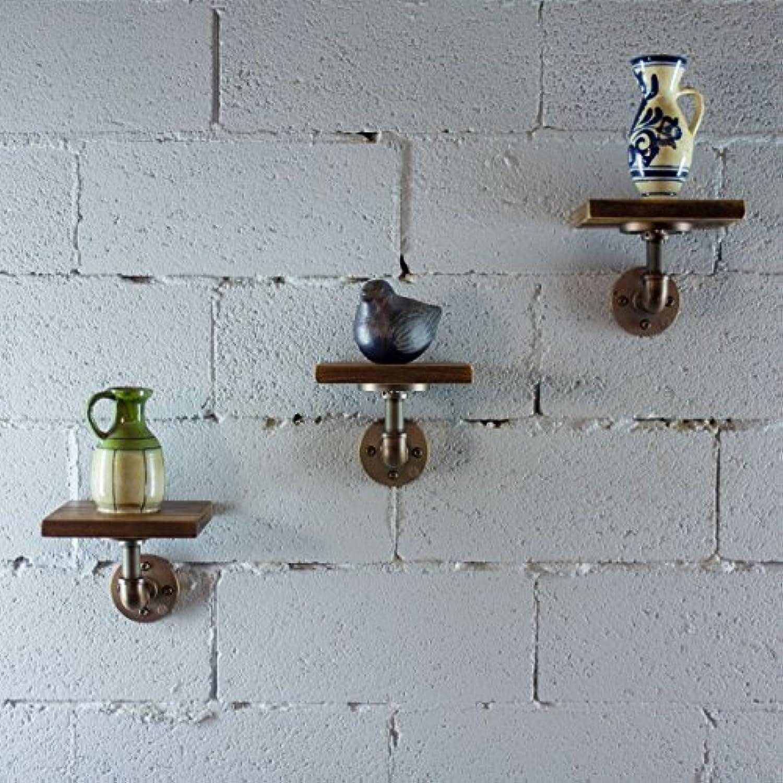 3 Piece家具パイプラインAmes Industrialヴィンテージ8インチ装飾壁マウントフローティングパイプシェルフメタルとReclaimed Aged Finish with Solid持続可能な木製
