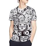 C_EDITION Ahegao T-Shirt Funny Short Sleeve Unisex 3D Print Novelty Casual Tee Shirts Tops Black