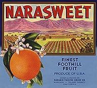 narasweetブランド–Naranjo、カリフォルニア–Citrusクレートラベル 24 x 36 Giclee Print LANT-57580-24x36