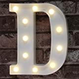 (D) - DELICORE LED Marquee Letter Lights Alphabet Light up Sign for Wedding Home Party Bar Decoration D