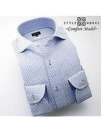 (スタイルワークス) メンズ長袖ワイシャツ 白カッタウェイ ワイドカラ- ホリゾンタル |