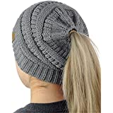 IVYRISE冬暖かいレディースbeanietailソフトストレッチポニーテール高Bunケーブルニットリブ編みビーニー帽子、グレー