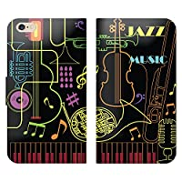 ARROWS Z FJL22 手帳型 ベルト無し ケース ストラップホール付 ジャズ ネオン管 カラフル 音楽 OB003504_02