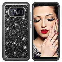 Galaxy S8 ケース、 CUSKING きらきら かわいい 保護 ケース Samsung Galaxy S8 対応 耐衝撃 衝撃吸収 シリコン/PC 2層構造 無地 カバー –ブラック