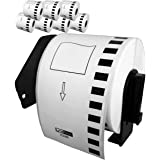 LiteTite DK-2205 (8 Rolls) Continuous Length Paper Tape Labels, Compatible with Brother P-Touch QL-Series, 2.4 (2-3/7) Inches