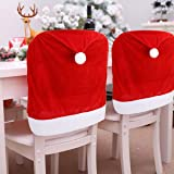 4pc Red Hat Dining Chair Slipcovers,Christmas Chair Back Covers Kitchen Chair Covers for Christmas Holiday Festival Decoratio