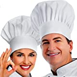 ipekar Chef Hat, 2PCS Adult Premium Adjustable Elastic Baker Kitchen Cooking Chef Cap