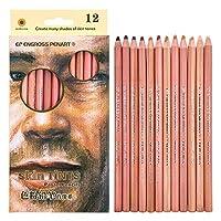 Pastel Pencils Wood Skin TintsColored Pencils Portrait Set Soft Core12-Count [並行輸入品]