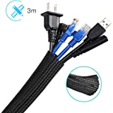 Cable Management Sleeve 3M, AGPTEK Cord Management System for Desk PC TV Computer Projector Wires Protection and Organization