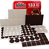 X-PROTECTOR Premium TWO COLORS Pack Furniture Pads 133 piece! Felt Pads Furniture Feet Brown 106 + Beige 27 various sizes ? B