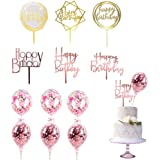 12 Pack Gold Rose Gold Pink Birthday Cake Topper Set, 6PCS Acrylic Cake Topper with 6 Pcs Confetti Balloon Cake Topper, for C