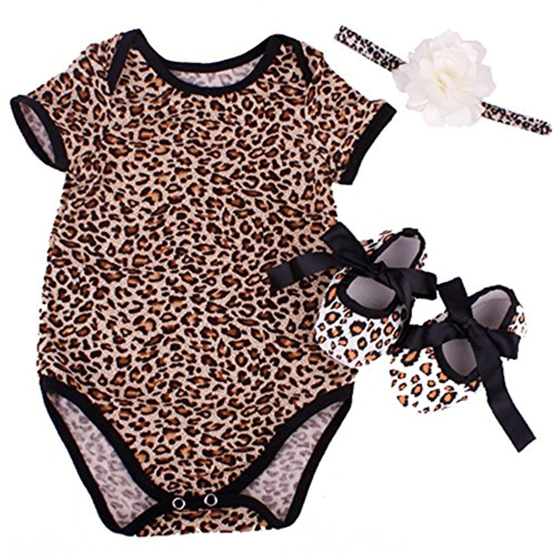 Reborn Baby Doll Leopard Romper Clothes Set for 20-22 Inch Reborns Newborn Girl Dolls Bodysuit Toy