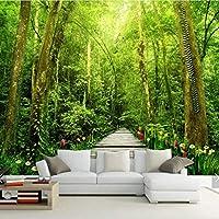 Weaeo 3D自然の森の花壁の壁画の壁紙リビングルームの壁画の壁紙3D壁の壁紙が貼られた紙のキャンバス壁紙ロール-120X100Cm