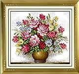これ素敵っ クロスステッチ 刺繍キット 大判 バラの花瓶 L304