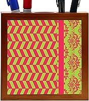Rikki Knight Damask Hounds tooth Black Pink Green Design 5-Inch Tile Wooden Tile Pen Holder (RK-PH44668) [並行輸入品]