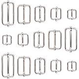 (Roller Pin Buckles) - Swpeet 100 Pcs Metal Rectangle Adjuster Triglides Slides Buckle, Roller Pin Buckles Slider Strap Adjus