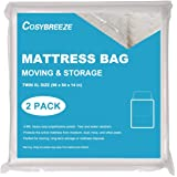 [2-Pack] Mattress Bag for Moving, Mattress Storage Bag, 4 Mil Twin XL Size, Super Thick- Heavy Duty, Protecting Mattress Lon