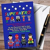 ブルースカイラインスーパーヒーローChildrens誕生日パーティー招待状 150 Invitations