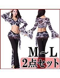 6e89a77f2bace  上下セット 3way ベリーダンス 衣装 練習着 レッスンウェアボレロ&パンツ2点セット花柄 スカートつきパンツ チョリ風 ダンス衣装 フィットネス…