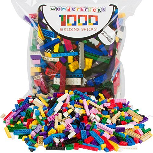 Building Bricks - 1000 Pc Bulk Blocks - Includes 60 Roof Pieces - Compatible with Lego [並行輸入品]