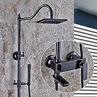 ウォールマウントシャワーヘッドシステム - シャワーとハンドヘルドレインマルチファンクションシャワーセット、豪華なバスルームシャワーセット、調節可能シャワー、ブラック
