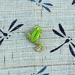 タックピン・ブローチ 黄銅製 蛙・かえる・カエル 足伸 小 (梅都工房作品)