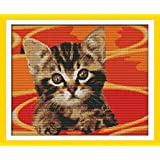 Maydear Cross Stitch Kits Stamped Full Range of Embroidery Starter Kits for Beginners DIY 11CT 3 Strands - Little cat in Pot