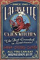 ルイジアナ州ラファイエット、–CajunキッチンVintage Sign 9 x 12 Art Print LANT-36692-9x12