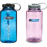 Nalgene 32 Ounce (32oz) Wide Mouth (WM) Water Bottle - Combo Blue and Cosmo - Set of 2