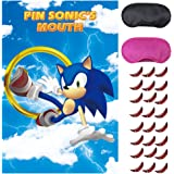 Sonic Hedgehog Party Supplies,Pin The Mouth on Sonic,The Hedgehog Party Games,Large Poster wiht 24PCS Mouthes Stickers for Ki