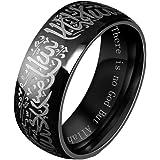 HIJONES Men's Stainless Steel Muslim Islamic Ring with Shahada in Arabic and English Gold Black