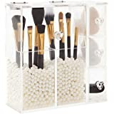 PuTwo Makeup Organizer With 2 Make Up Brush Holders and 3 Drawers All In One Case with Free New Large White