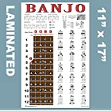 Laminated Banjo Poster - Chords Rolls Fretboard Notes - Open G Tuning 11x17 Easy Beginner Instructional Chart by A New Song M