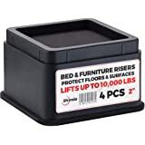 "(Black 4 Pack) - iPrimio Bed and Furniture Risers - 4 Pack Square Elevator up to 2.5"" and Lifts up to 4540kg - Protect Floors"